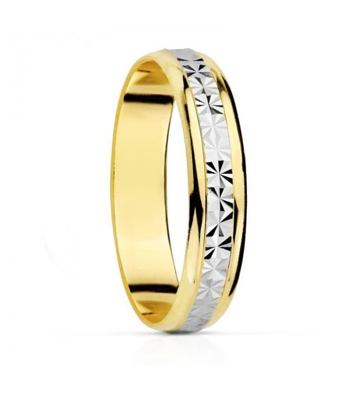 ALIANZA BICOLOR DIAMANTADA anillo de boda compromiso grabado joyeria online