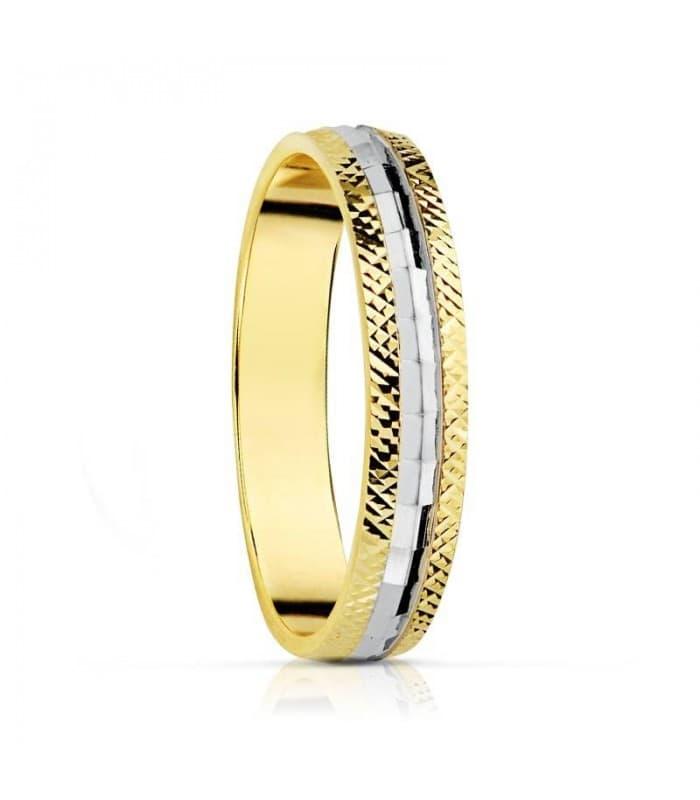 ALIANZA BICOLOR ESPEJO anillo de boda compromiso grabado joyeria online