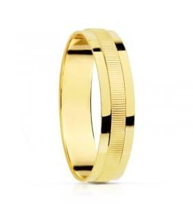 ALIANZA plana textura RAYADA anillo de boda compromiso grabado joyeria online