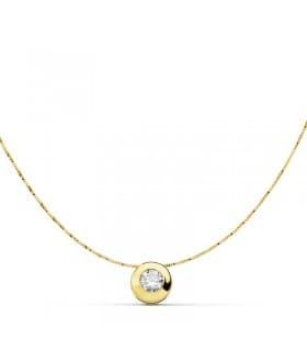 Gargantilla Collar mujer Oro Amarillo 18 Ktes chatón punto de luz 6 mm regalo mamá navidad
