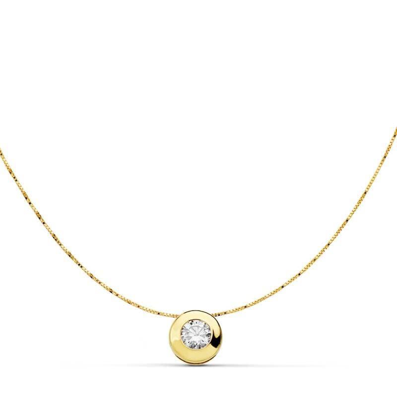 792b1ded9d21 Gargantilla Collar mujer Oro Amarillo 18 Ktes chatón punto de luz 6 mm  regalo mamá navidad ...