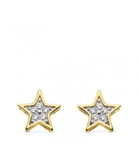 Pendientes estrellitas star oro bicolor 18k circonitas brillantes cierre presión