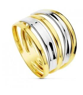 Sortija bicolor Yasmina 18 Ktes anillo de bandas ancho para mujer estilo casual joyería