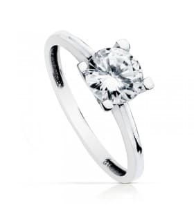 Solitario oro blanco Victoria 18 Ktes anillo de compromiso mujer novia boda