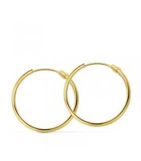 Pendientes aro de oro amarillo Lupita 20mm 18 Ktes