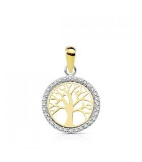 Colgante mama oro bicolor madallon arbol de la vida con piedras gemas circonitas brillantes