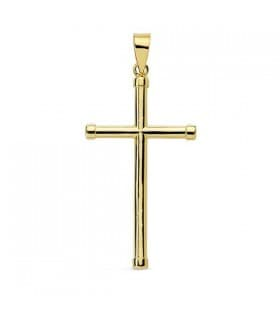 Colgante moderno cruz oro 18k lisa joya infantil primera comunion