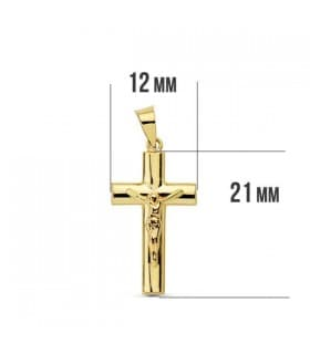 Cruz Cristo oval hueco 18 Ktes 21mm
