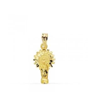 Medalla silueta Virgen del Pilar 18 Ktes 17mm
