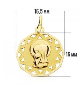 Medalla Virgen niña calada 9 Ktes