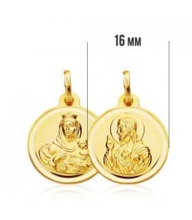Medalla Virgen Carmen y Corazón de Jesús 9 Ktes 16mm