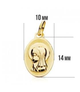 Medalla Virgen niña oval 9 Ktes