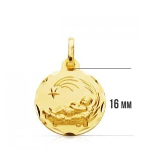 Medalla niño del pesebre grande oro 9ktes