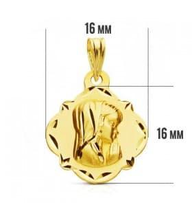 Medalla Virgen niña tallada 9 Ktes