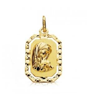 Medalla Virgen niña marco 18 Ktes