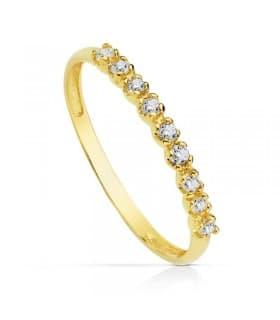 Anillo oro amarillo sortija mujer tresillo fina elegante oro 18k