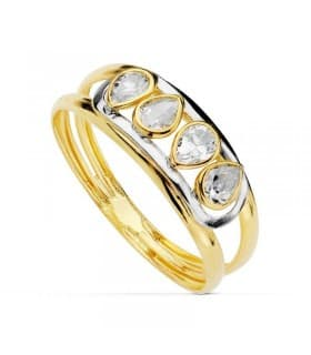 Sortija oro bicolor Francisca 18 Ktes