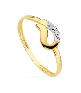 Sortija oro bicolor Tifani 18 Ktes