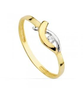 Sortija oro bicolor Dory 18 Ktes