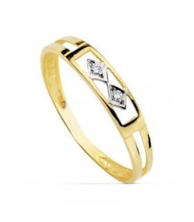 Sortija oro bicolor Esmeralda 18 Ktes
