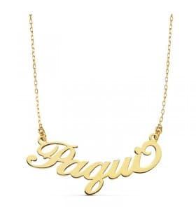 Gargantilla Nombre Oro 18 Kilates Collar colgante letras abecedario