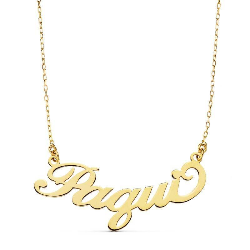54c32ee5b498 Gargantilla Nombre Oro 18 Kilates Collar colgante letras abecedario ...