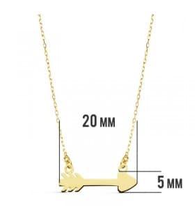 Collar flecha de cupido de oro amarillo 18 kilates
