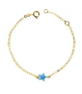 Pulsera bebé oro 18 ktes estrella azul