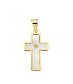 Cruz nacar oro amarillo 18 Ktes