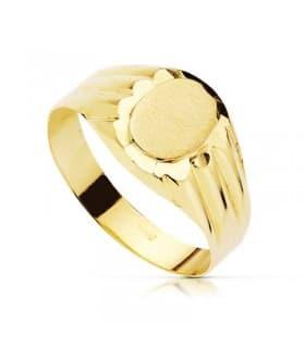 Sello cadete niño comunión anillo sello mujer grabado joya personalizada oro 18 kts