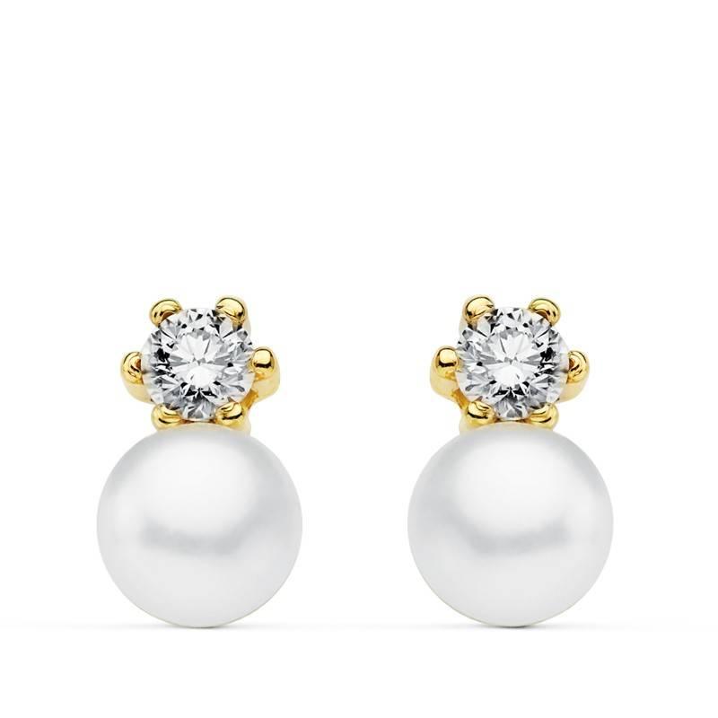 3d5039f30951 Pendientes oro amarillo perla comunion niña tu y yo 18 Ktes ...
