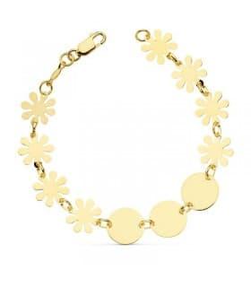 Pulsera oro amarillo 18k Flores y círculos