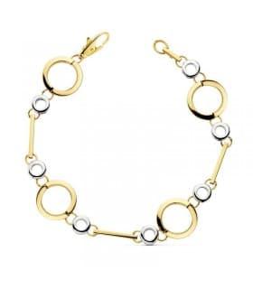 Pulsera oro bicolor 18k círculos
