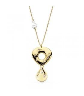 Gargantilla oro bicolor 18k con lágrima