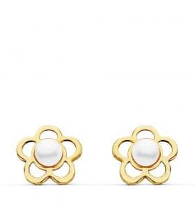 Pendientes oro amarillo perlas