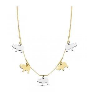 Gargantilla oro bicolor 18ktes Charms Elefantes