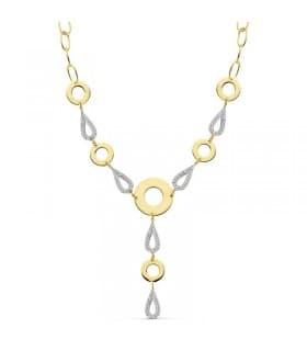 Collar oro bicolor 18 ktes Circle link eslabones y lagrimas con circonitas
