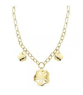Collar oro amarillo 18k Flores hawaianas gargantilla mujer