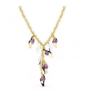 Collar de mujer oro bicolor 18k Fantasy Charms con piedras amatista
