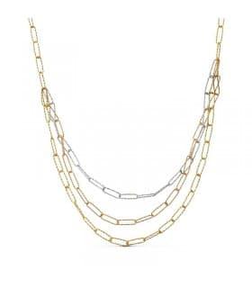 Gargantilla tricolor 18k collar mujer oro blanco amarillo rosa