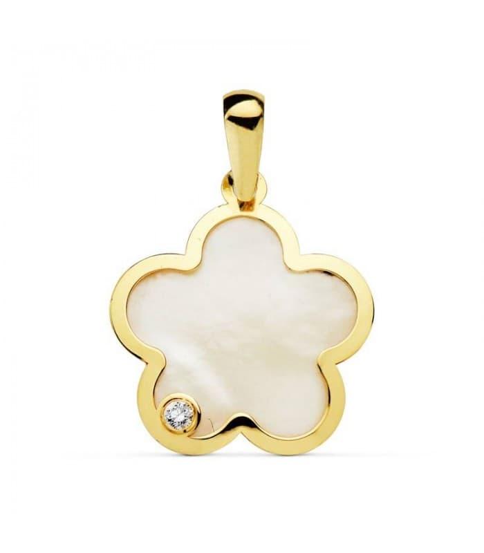 Colgante oro amarillo 18k flor de nácar circonita, regalo día de la madre