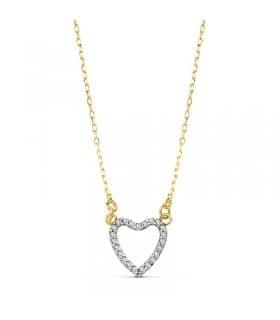 Gargantilla oro bicolor 18k Fall in Love Corazón cironitas San Valentin