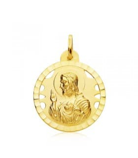 Escapulario V. de las Angustias y Corazón de Jesús Oro 18k 22 mm Calado