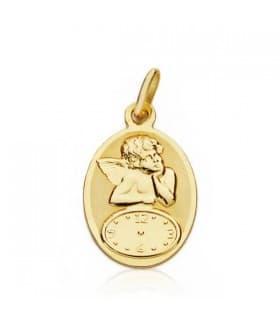 Medalla ángel y reloj oval oro 18ktes