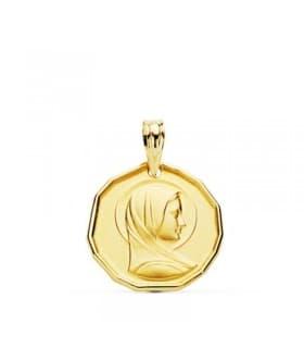 Medalla María Francesa Oro 18 kilates 16mm Medalla Comunión Niña