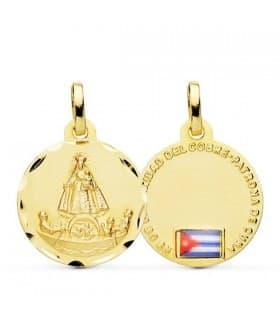Medalla Ntra. Señora Caridad del Cobre Oro 18k 16mm Bandera Cuba