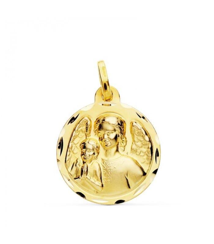 Medalla Ángel de la Guarda Protector Oro 18k 18mm