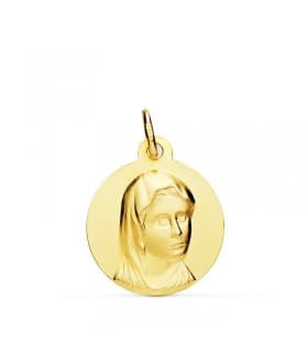 Medalla religiosa comunión María Francesa Oro 18k 16mm