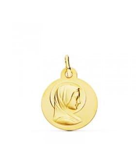 Medalla Virgen María Francesa Oro 18k 14mm