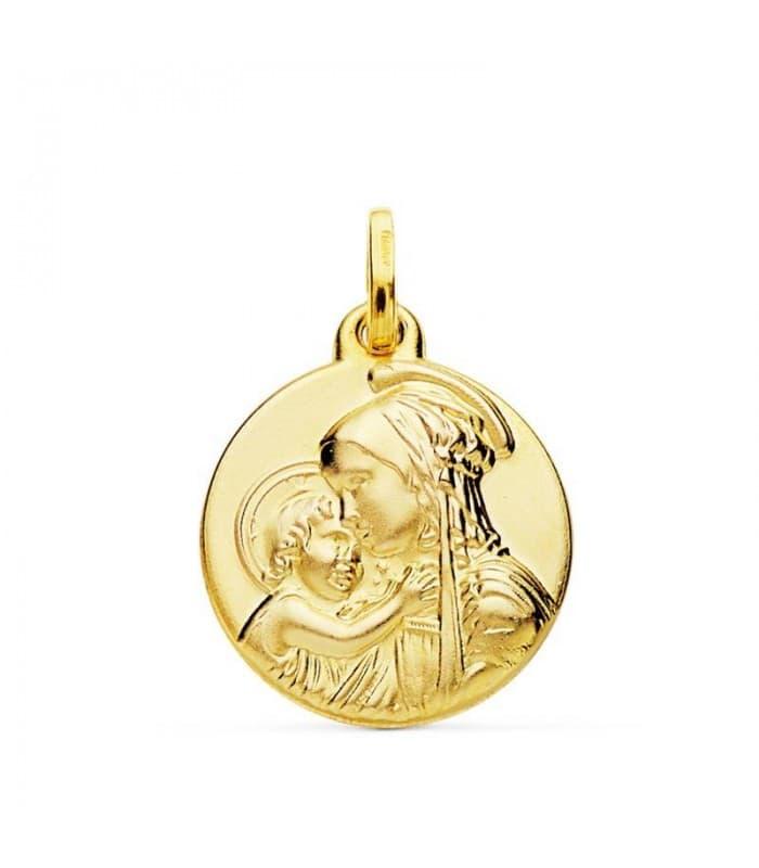 Medalla Virgen Divina Ternura Oro 18k 18mm Regalo joyas mujer para Navidad